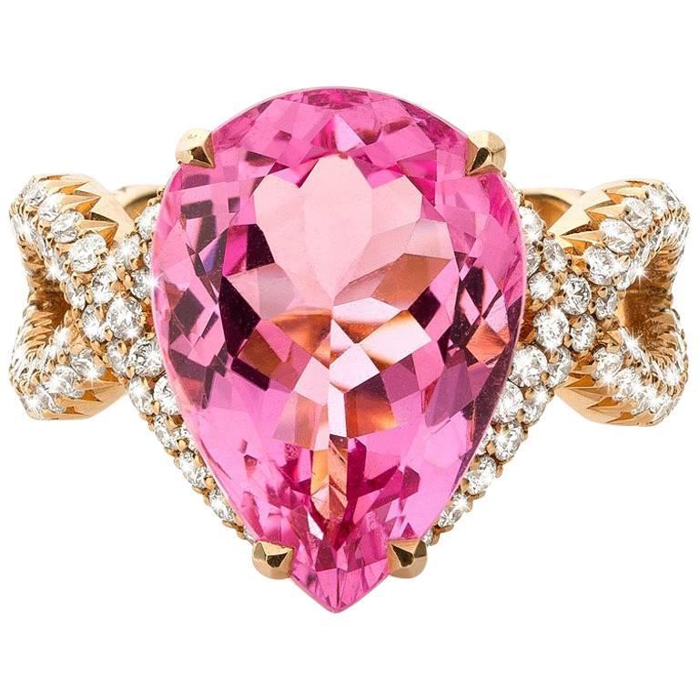 Rose Gold Madagascar Pink Pear Morganite Diamond Ring
