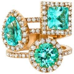 Gold White Pave Diamond Princess Cut Stack Cocktail Ring