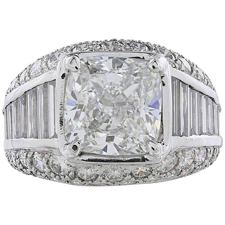 GIA Report  5.01 G/VS2 Cushion Cut Diamond Engagement Ring