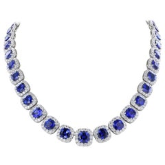 Sapphire Diamond Eternity Necklace 40.55 Carats Of Sapphires