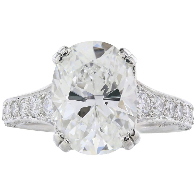 GIA Certified 4.09 Carat G/VS1 Oval Diamond Engagement Ring 1