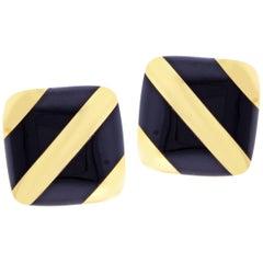 Michael Bondanza Black Onyx Striped Gold Earrings