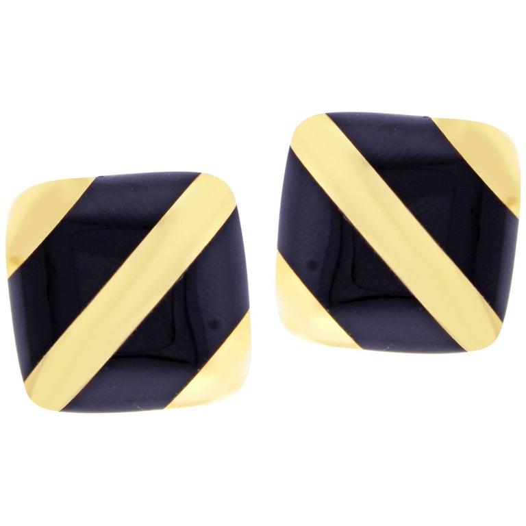 Michael Bondanza Black Onyx Striped Gold Earrings For Sale