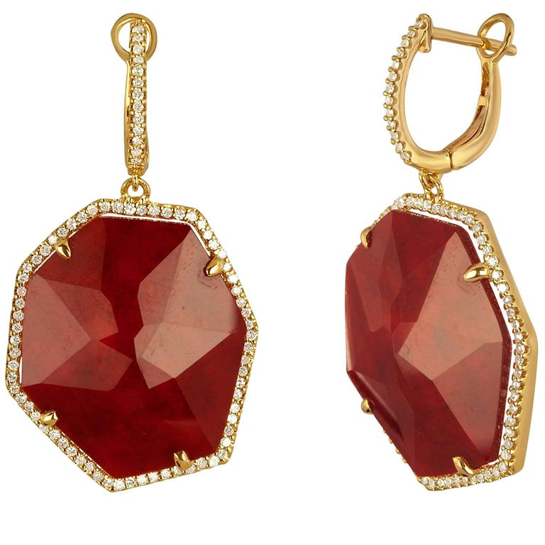 Doublet 20.47 Carat Ruby Rock Crystal Diamond Gold Dangle Earrings