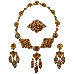 Antique Georgian 18K Gold Garnet Necklace Chandelier Earrings Brooch Set