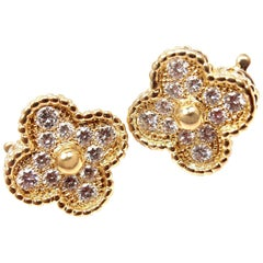 Van Cleef & Arpels Diamond Vintage Alhambra Yellow Gold Earrings