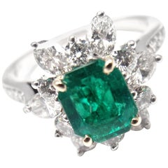 Vintage Tiffany & Co. Emerald Diamond Cocktail Ring