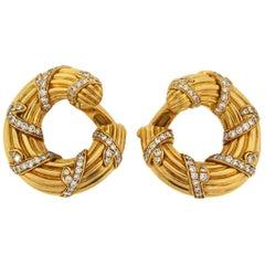 Cartier Diamond Yellow Gold Hoop Earrings