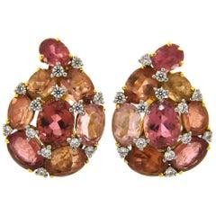 Verdura Tourmaline Diamond Yellow Gold Earrings