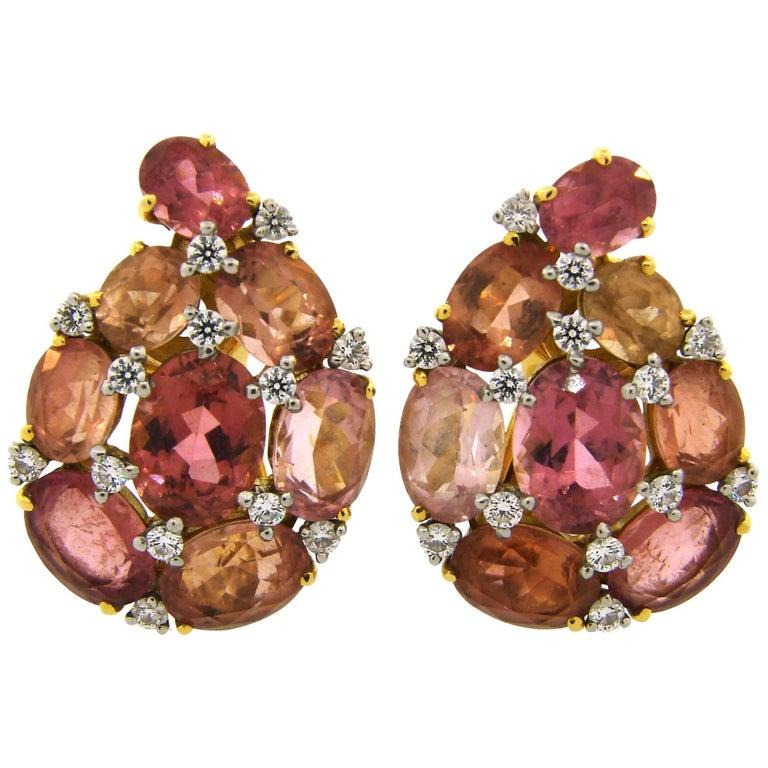 Verdura Tourmaline Diamond Yellow Gold Earrings 1