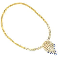 Diamond Sapphires Gold Necklace