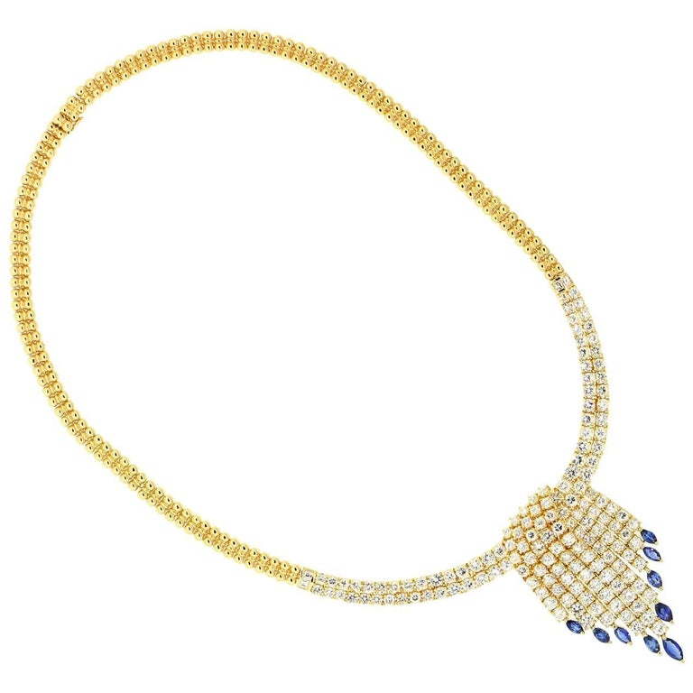 Diamond Sapphires Gold Necklace For Sale