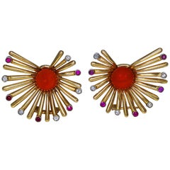 1950s Italian Coral, Diamond and Ruby Earclips