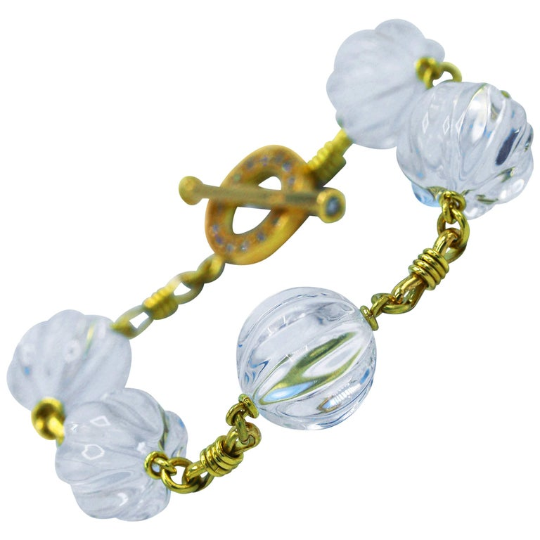 Rock Crystal, Diamond and Gold Bracelet For Sale