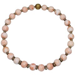 Coral Bead, Diamond and Gold Necklace