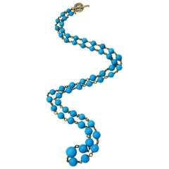 Natural Sleeping Beauty Turquoise, Diamond and Gold Necklace