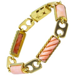 1970s Italian Pink Coral and Gold Bracelet