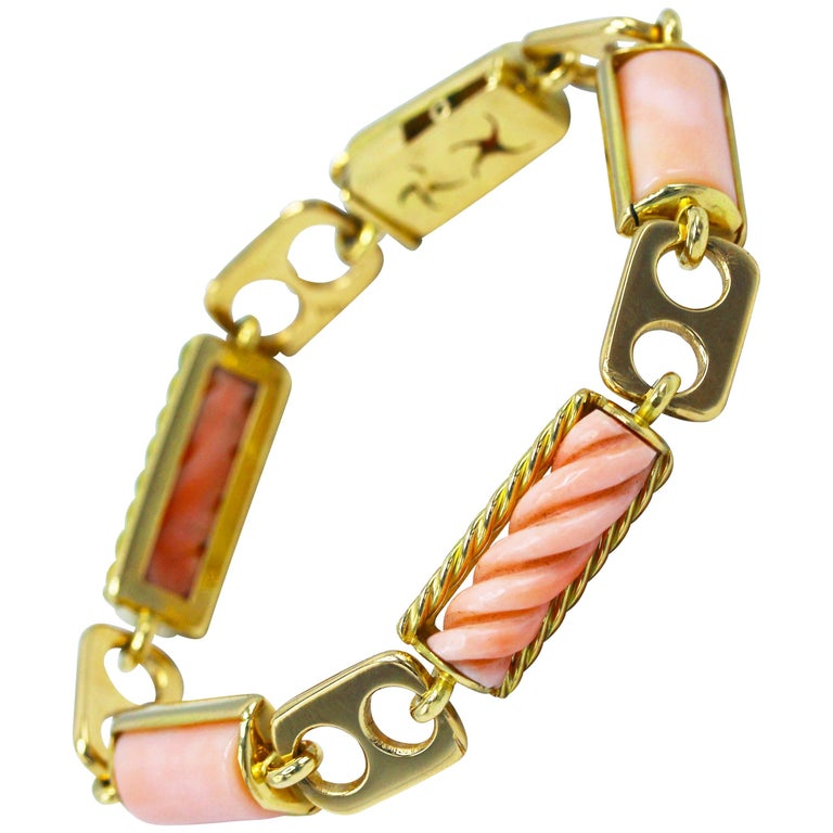 1970s Italian Pink Coral and Gold Bracelet For Sale