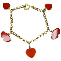 1960s Red Coral and Gold Charm Bracelet