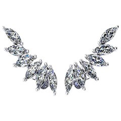 Ferrucci 1.21 Carat Marquise Diamonds Platinum Wing Earrings