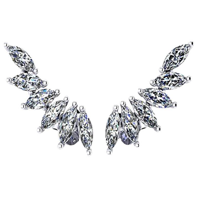 Ferrucci 1.21 Carat Marquise Diamonds Platinum Wing Earrings