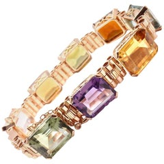 Estate Multi-Color Large Stone Topaz Amethyst Aquamarine Rose Gold Bracelet