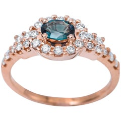 Alexandrite and Diamond Rose Gold Ring