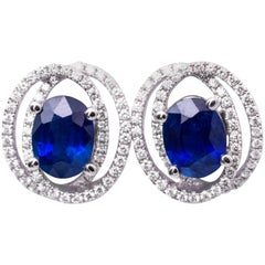 Diamond and Sapphire Studs Earrings
