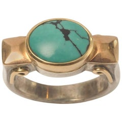 Natural Turquoise with Matrix Set in 18 Karat Gold and Sterling Silver