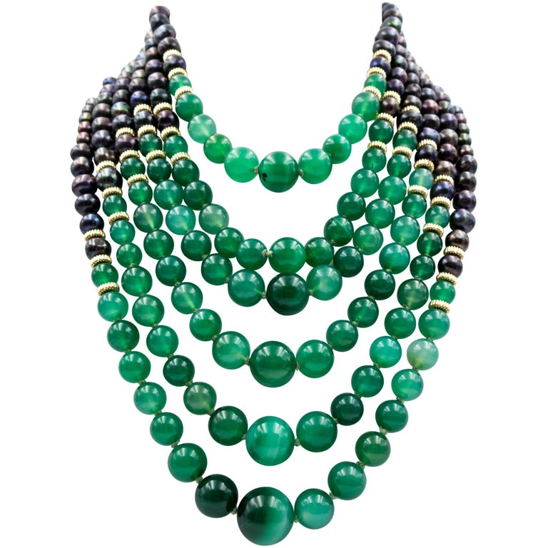 Chic Gold Green Onyx Black Pearl Multistrand Necklace