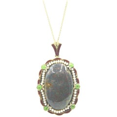 Antique Bloodstone Seed Pearl Enamel Gold Pendant Necklace
