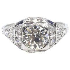 Art Deco Diamond Sapphire Platinum Engagement Ring
