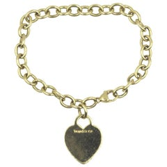 Tiffany & Co. 18 Karat Yellow Gold Heart Charm Bracelet