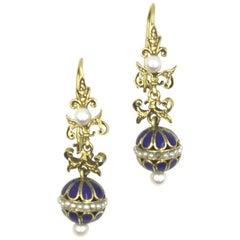Vintage Enamel Pearl Gold Drop Earrings