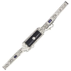 Art Deco Platinum Filigree Onyx Diamond Sapphire Bracelet