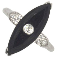 1920 Onyx Diamond Platinum Ring