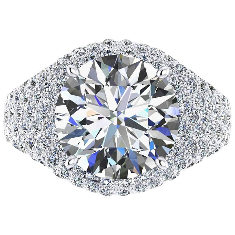 Ferrucci GIA Certified 5.02 Carat E Color IF Clarity High End Engagement Ring