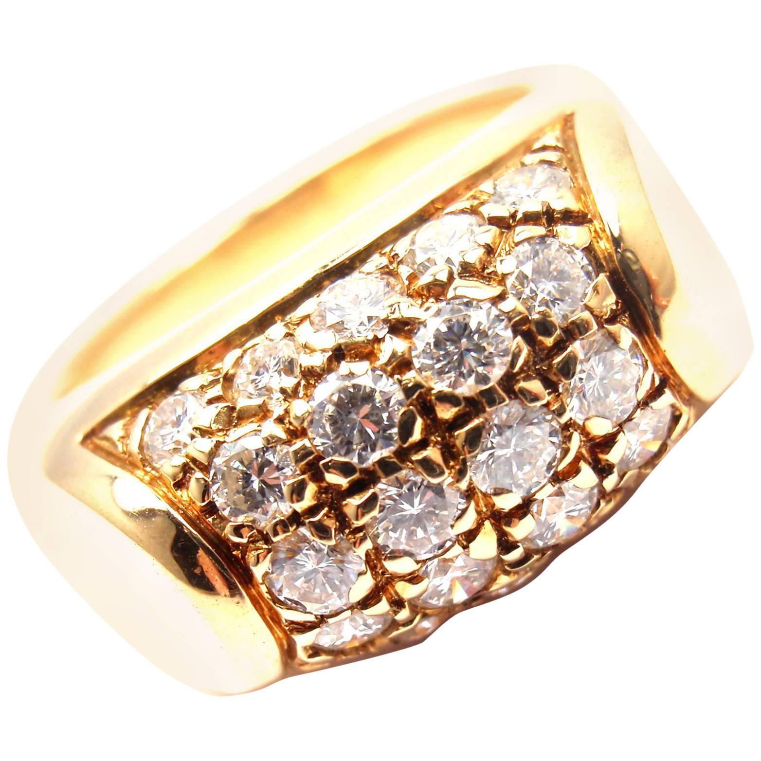 Bulgari Diamond Yellow Gold Band Ring