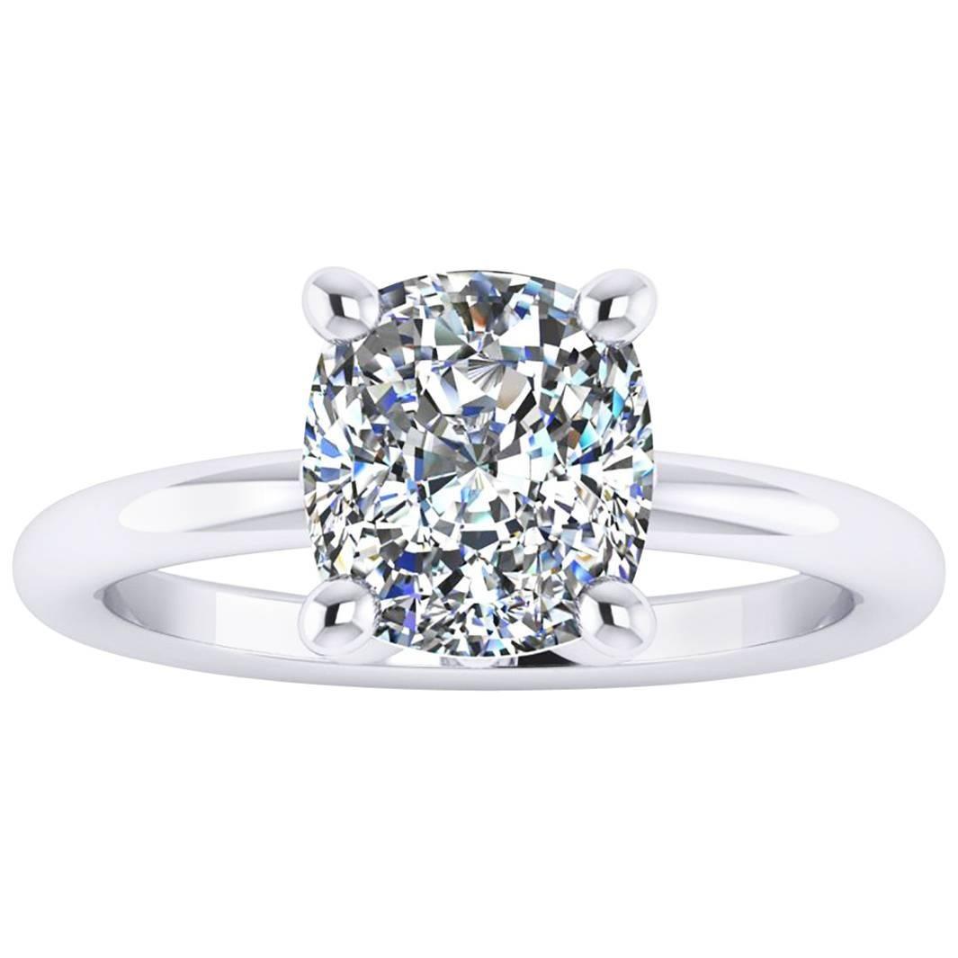 GIA Certified 2.09 Carat Cushion Diamond Platinum Engagement Ring