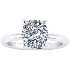 GIA Certified 2.09 Carat Cushion Diamond Platinum Engagement Ring