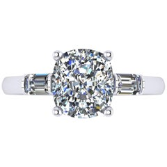 Ferrucci GIA Certified 2.02 Carat Cushion Diamond with Baguettes Engagement