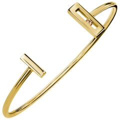 Luke Rose Open Cuff Diamond Bangle in Yellow Gold