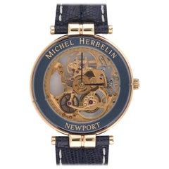 Michel Herbelin Gold Plate Newport Skeleton Manual Wristwatch