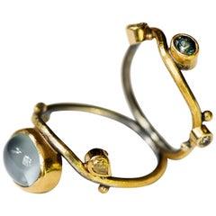 Bergsoe Silver Gold Aquamarine Sapphire Diamond Ring