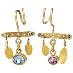 Bergsoe Gold Sapphire Diamond Earrings