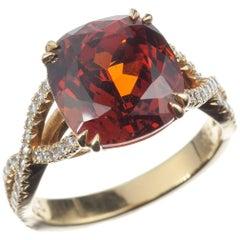 Spessartite Garnet and Diamond Ring in 18-Karat Yellow Gold