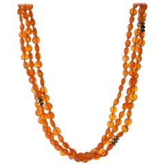 Carnelian 18-Karat Yellow Gold Necklace