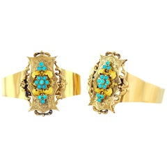 Pair of Antique Turquoise-Set Gold Bracelets