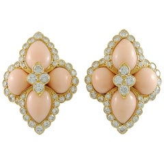 Cartier Paris 1970s Angel Skin Coral Diamond Earclips