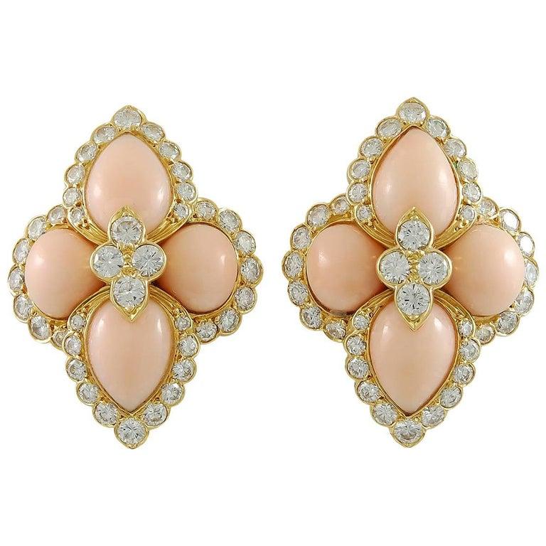 Cartier Paris 1970s Angel Skin Coral Diamond Earclips For Sale